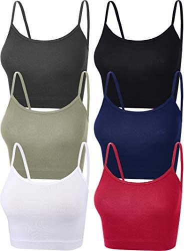 6 Pieces Women Crop Cami Top Sleeveless Spaghetti Strap Tank Top for Sports Yoga Black White product image