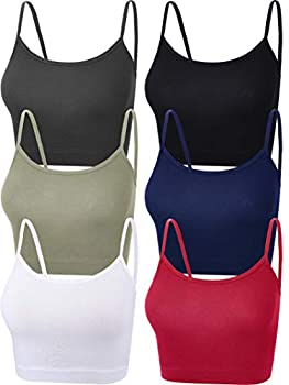 6 Pieces Women Crop Cami Top Sleeveless Spaghetti Strap Tank Top for Sports Yoga  Black White Grey Green Wine Red Navy Blue Small