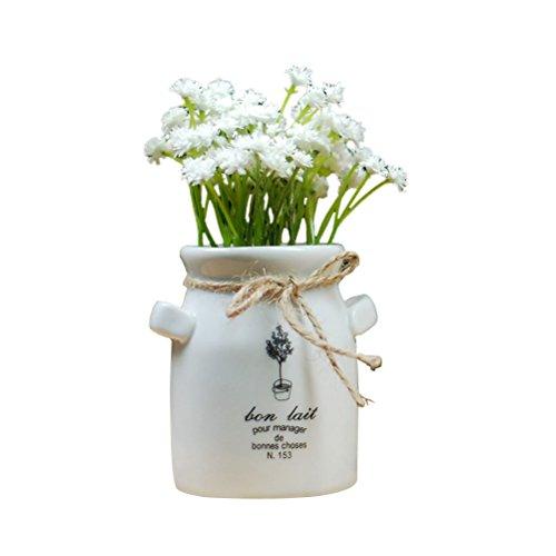 OUNONA - Mini Planta Artificial para decoración de Oficina, hogar (Blanco)