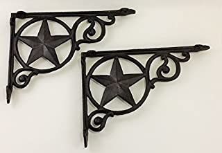 Aunt Chris' Products - Heavy Cast Iron - Star Shelf Bracket (Lot/Set of 2) - Wall Mount - Indoor or Outdoor Use - Rustic Black Finish - Old Western Primitive Design