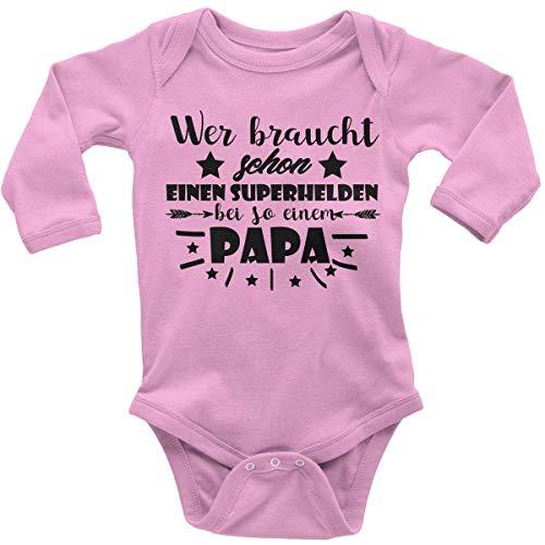 Mikalino Babybody mit Spruch für Jungen Mädchen Unisex Langarm Wer braucht Schon einen Superhelden bei so einem Papa | handbedruckt in Deutschland | Handmade with Love, Farbe:rosa, Grösse:56