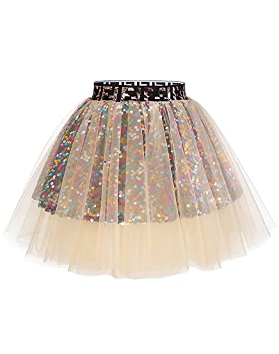 MUADRESS Mini Tulle Glitter Skirt Retro Rockabilly Falda Plisada Tutu para Fiesta de Disfraces Champán M