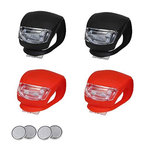 EasyULT Kinderwagen Licht[4 Stück], LED Blinklicht Clip-On Sicherheitslicht Set Silikon Leuchte Lampe Taschenlampe für Kinderwagen, Läufer, Walker, Fahrradfahrer(2X LED Weißlicht und 2X LED Rotlicht)