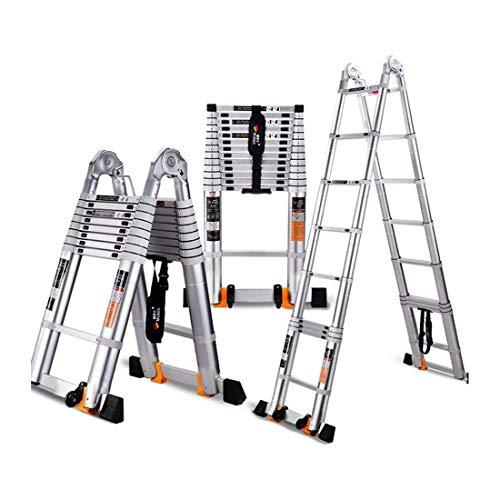 JIACTOP Las escaleras de Aluminio de extensión telescópica Escalera con Bastidor Ligero portátil Multiuso Extensión Escalera Plegable (Size : 2.5+2.5=5.0M(16.4ft))