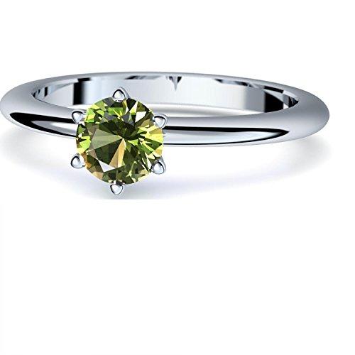 Peridot Ring Silber 925 (***sehr hochwertiger Peridot 5 mm***) + GRATIS Luxusetui Silberring grüner Stein Silberring Peridot Peridotringe Ringe Damen Schmuck AM195 SS925PEFA56