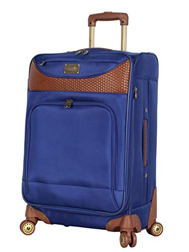 Caribbean Joe Designer Luggage Collection - Expandable 24 Inch Softside Bag - Durable Mid-sized Lightweight Checked Suitcase with 4-Rolling Spinner Wheels (Royal Blue)