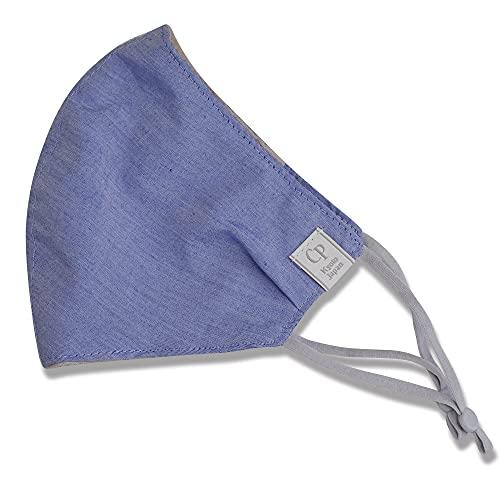 [CP (シーピー)]布マスク日本製 涼しい 冷感 おしゃれ キシリトール 夏用 ひんやり 洗える 大きめ 小さめ 吸水速乾 無地 メンズ 女性 子供 クールマックス CPマスク ブルー Lサイズ(メンズ相当)