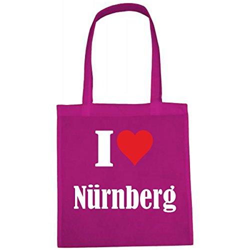 Tasche I Love Nürnberg Größe 38x42 Farbe Pink Druck Weiss