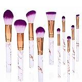 10 unids/Set Pinceles de Maquillaje Profesional marmoleo Mango Base en Polvo Sombra de Ojos Pinceles de Maquillaje de Labios Conjunto de Herramientas de Belleza