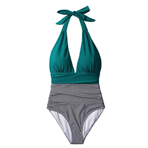 UKKD Badeanzug Damen Streifen Einteiliger Badeanzug V-Ausschnitt Backless Halter Sexy Bikini Damen Strand Badewanne