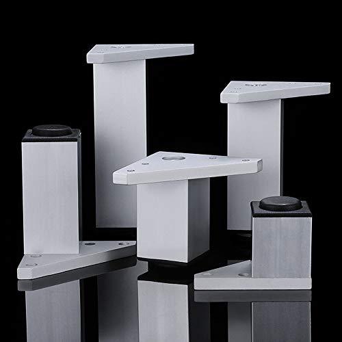 Furniture legs YHPD 4 × Möbelbeine aus Metall, verstellbare Füße für Badmöbel, Stützbeine aus Vierkantsilber, Lagergewicht 400 kg, verstellbar 1 cm, Höhe 6 bis 30 cm, geeignet für DIY-Projekte
