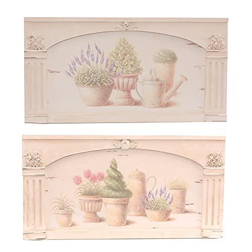 DiKasa Home Set Pannelli Vasi Fiori, Legno, Multicolore, 73x2x38 cm