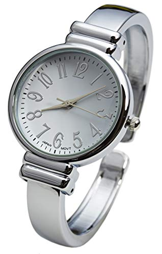 Blekon Collections Silver Metal Band Slim Case Women's Bangle Cuff Watch