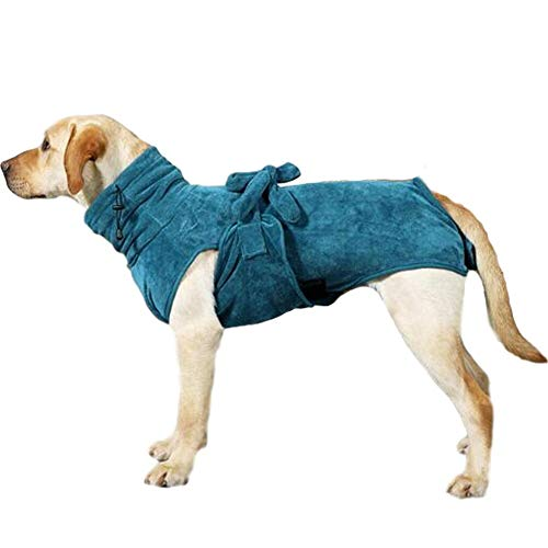 Angwis Saugfähiger Hundehandtuch-Bademantel – Hunde schnell trocknender Mantel mit verstellbarem Bindeverschluss am Rücken – Badezubehör für kleine, mittelgroße und große Hunde grün-L