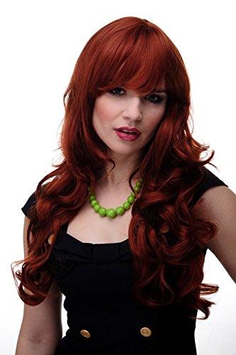 WIG ME UP - Perruque dame grandes boucles cheveux ondulés avec frange lisse roux cuivré env. 65 cm 285-350