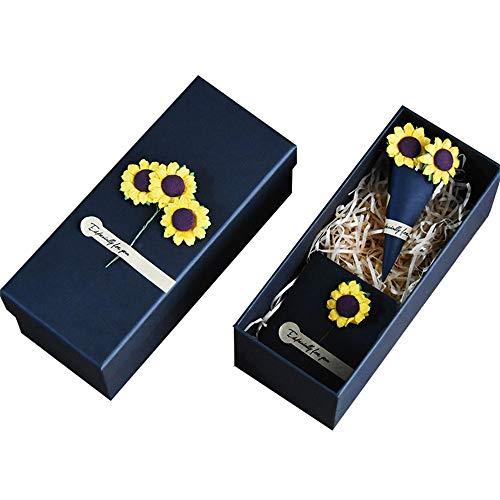 Yikey geschenkdoos, zonnebloemen, natuurlijke droogbloemen, rechthoekig, papieren kopjeshouder, cadeauzakje en kleine geschenkdoos