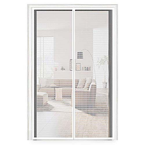 SODKK Magnetic Screen Door Curtain 53x106inch, White Anti Mosquito Magnetic Soft Door, Magnetic adsorption Foldable, Easy to Install Without Drilling, for Living Room/Patio Door