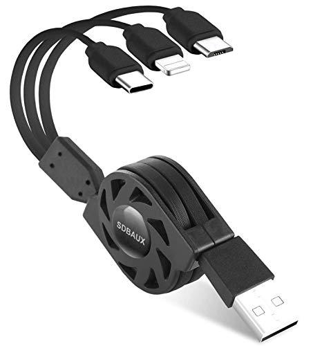 SDBAUX Multi USB Kabel 3 in 1 31A1M Universal Schnelle Aufladung Einziehbares Ladekabel mit 8 Pin Typ C Micro USB Port Kompatibel mit Phone 12 11 Pro Xs Max Xr X 8 Samsung Galaxy Google Pixel LG