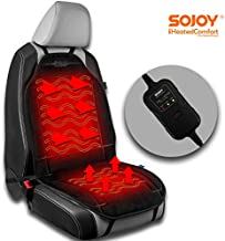 Sojoy Universal 12V Heated Car Seat/Cushion Warmer Made with Super Soft Velour, High/Med/Low, 45 Mins Automatically Turn-Off Timer (Carbon Black, 3 Temp Switch)