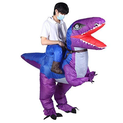 Disfraz Inflable, Disfraz de Dinosaurio Inflable, decoracin de Halloween, sin Fugas de Aire Conveniente a Prueba de Agua para actuaciones de Fiestas(X115 Blue Purple)