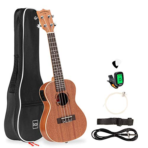 Best Choice Products 23in Acoustic Electric Concert Sapele Ukulele Starter Kit w/Gig Bag, Built-in Tuner, Strap, Extra Strings, Picks