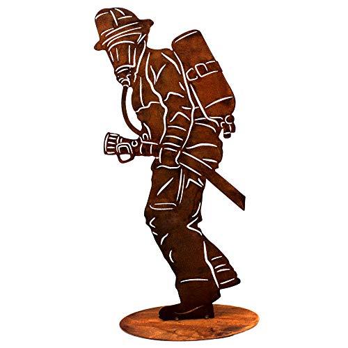 Rostikal | Feuerwehrmann Figur | Dekoration aus Metall Rost | Feuerwehr Deko für Garten in Edelrost | 40 cm