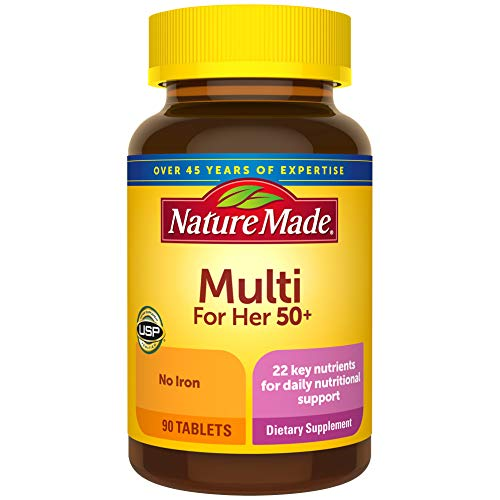 Nature Made Women's Multivitamin 50+ Tablets with Vitamin D, 90 Count for Daily Nutritional Support (Pack of 3)