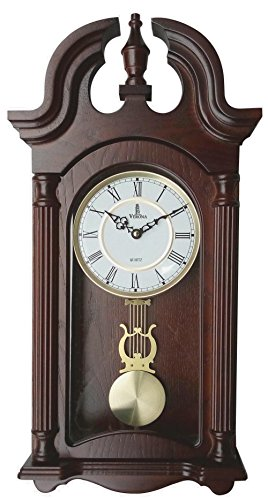 Pendulum Wall Clock, Silent Decorative Wood Pendulum Clock with Swinging Pendulum, Battery Operated, Dark Wooden Design, for Living Room, Dining Room, Kitchen, Office & Home Décor, 23.5x9.25 Inch