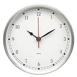 COMODO CASA Wall & Desk Clock- Metal Silver Frame-Glass Cover-Non Ticking-Quartz Sweep-Silent 6 inch Retro Clock,White (Number Type 2)