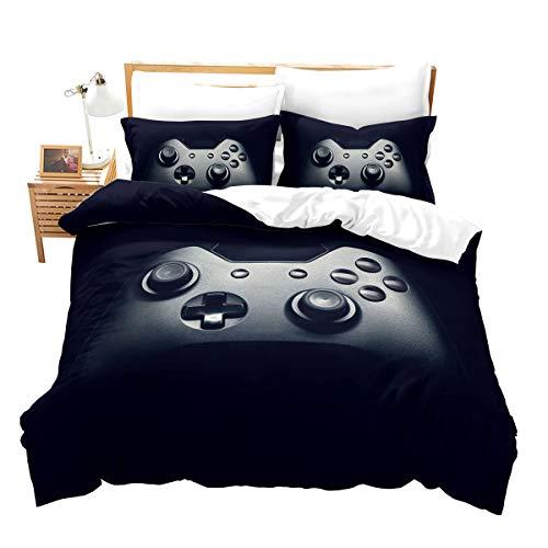Erosebridal Juego de ropa de cama para juegos Gamepad, funda de edredón para niños y niñas, patrón de control de videojuegos, juego de cama moderno decorativo de 3 piezas con 2 fundas de almohada, queen, negro