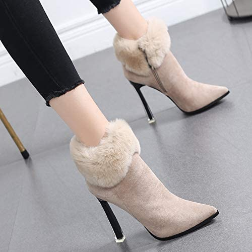 HRCxue Femmes Bout Rond Martin Bottes Chaussures en en en Coton pour Femmes et Bottines à Talon Haut pour Femmes, Talons Aiguilles, Bottes Nues, 36, Beige f29