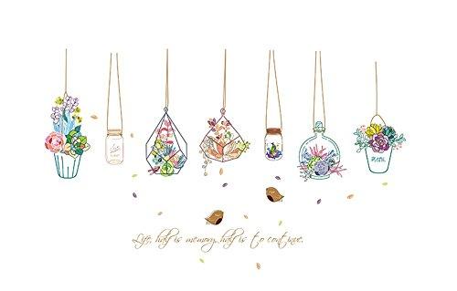 Meeoy Muurstickers voor thuis, keuken, kunst, ramen in vaas met verse bloemen in vaas, decoratie voor thuis, om zelf te maken, breedte 132 cm x hoogte 80 cm