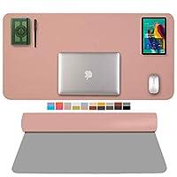 多機能 デスクパッド プロテクター、 防水 ラップトップ マウスパッド 両面 滑り止め レザー デスクライティングマット 吸取紙 テーブルマット にとって ホーム オフィス (Color : Pink+Silver, Size : 70x35cm/28x14inch)