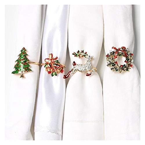 Exquisito 4 unids Anillos de servilleta de Navidad Servilleta Classs Aleación Servilleta Anillos Servilleta Hebillas Cena Decoración de mesa de fiesta para decoración de mesa de hotel de vacaciones