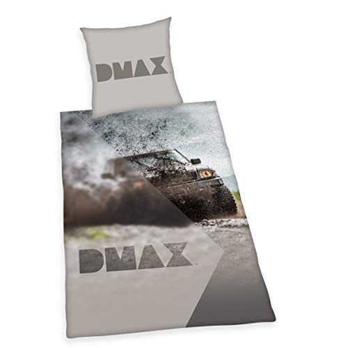 Herding DMAX Set di Biancheria da Letto Reversibile, Copripiumino 135 x 200 cm, Federa 80 x 80 cm, Cotone, Grigio