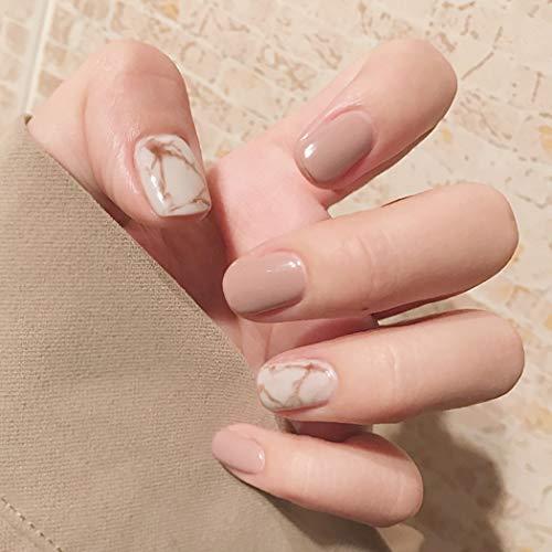 Brishow Künstliche Fingernägel Kurze Falsche Nägel Kleben Sie die Nägel auf Ballerina Natürliches Acryl Falsche Nagelspitzen 24 Stück für Frauen und Mädchen