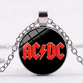 Popular Rock Band AC/DC Red Sign Necklace Rock and Roll ACDC Silver Color Glass Dome Pendant Choker Jewelry Music Lovers