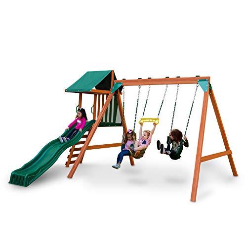 Swing-N-Slide PB 8375 Ranger Plus Wooden Swing Set with Swings, Climbing Wall, Canopy and Slide, Green