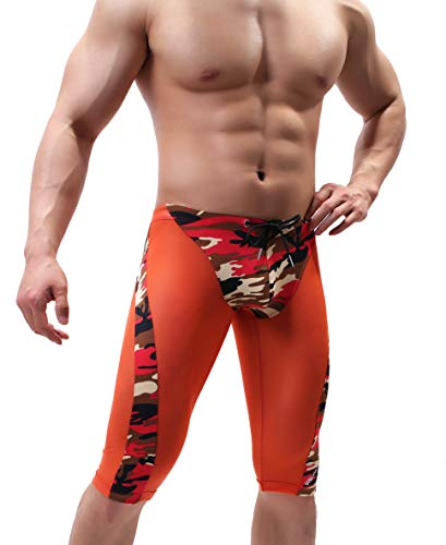 "BRAVE PERSON Men's Fashion Breathable Mesh Elastic Training Shorts Swim Trunks Beach Pants 2240 (L: 30""-35'', K05 - Orange)"