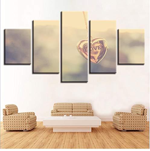 Modular Art Pictures 5 Stuks Hartvormige Ketting Hanger en Letter Liefde Canvas Schilderen Woonkamer Muurdecoratie Moderne Prints 20 * 35cm 20 * 45cm 20 * 55 Frameloos