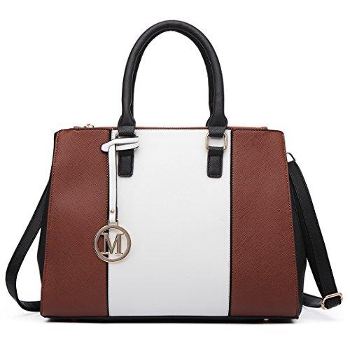 Miss Lulu Damen Handtasche, Lederoptik, Schulterriemen Oben-Größe: Large