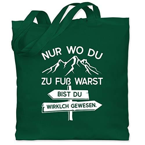 Shirtracer Hobby - Nur wo du zu Fuß warst - weiß - Unisize - Dunkelgrün - Geschenk - WM101 - Stoffbeutel aus Baumwolle Jutebeutel lange Henkel
