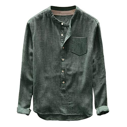 Crazboy Mode Herren Casual Blouse Linen and Cotton T-Shirt Long Sleeve Top(Large,Grün)