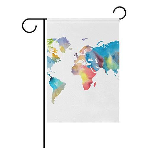 Jessgirl Drapeau de Jardin Vintage pour extérieur Couleur Carte du Monde 28 x 40 Pouces Double Face Cour Ferme décor Moderne de Patio