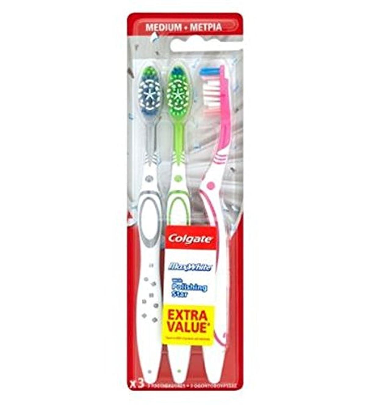 恋人役に立つ指コルゲートマックスホワイトトリプルパック歯ブラシ (Colgate) (x2) - Colgate Max White Triple Pack toothbrush (Pack of 2) [並行輸入品]