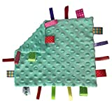 Baby Security Taggies Blankets Soothing Sensory Soft Comforter Blanket Infant Appease Towel Baby Loveys for Boys with Colorful Tags(Mint Green)