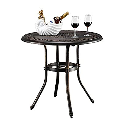 VINGLI Patio Table Patio Dining Table with Umbrella Hole,Cast Aluminum Side Table Backyard Bistro Table Outdoor Furniture Garden Table (L32 x W32 x H29 Inch)