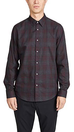 Theory Men's Phoenix Venlo Check Button Down Shirt, Chianti Check, Red, Plaid, Medium