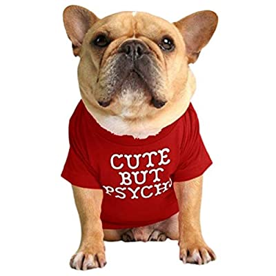 Junhouse Bulldog Clothes Pet Clothing Puppy T-shirt Spring Summer Soft Comfy Breathable Quick Dry Dog Outfit Pullover For Small Medium Large Puppy Dogs (2XL,Deep red)