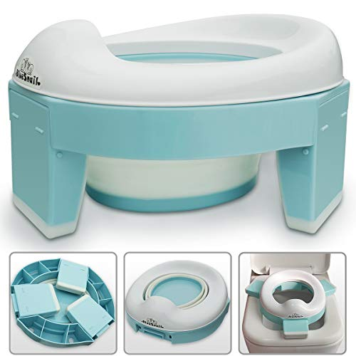 potty training potties 3-in-1 Go Potty for Travel, Portable Folding Compact Toilet Seat,Potty Training Toilet Chairs for Toddler Boys & Girls with storage Bag and Potty Liners by BlueSnail (blue)